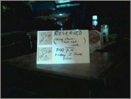 DaveFest reserved sign
